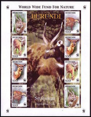 Burundi WWF Sitatunga Imperforated Sheetlet of 2 sets / 8 stamps