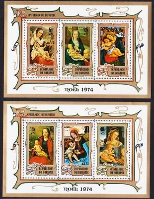 Burundi Christmas Charity Virgin and Child Paintings 2 MSs SG#MS1011