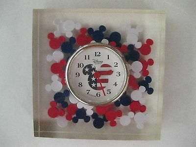 Mickey Mouse Lucite Clock Red White Blue Working!