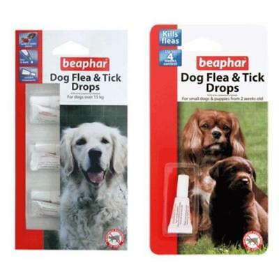 Beaphar Flea & Tick Drops Spot On 12 Week Protection Treatment Small/Large Dogs