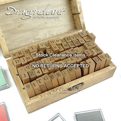 CLEARANCE! IMPERFECT! 70 pcs Alphabet Rubber Stamp Wooden Box Set + FREE INK