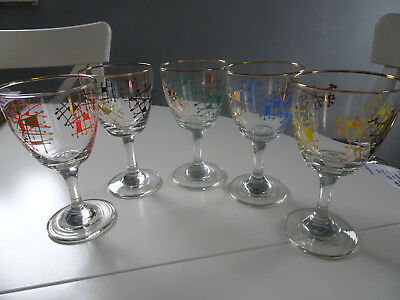 set of 5 vintage retro gold rimmed glasses with splashes of colour