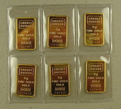 Lot of (6) Credit Suisse 5 Gram .9999 Fine Statue of Liberty Gold Bullion Bars