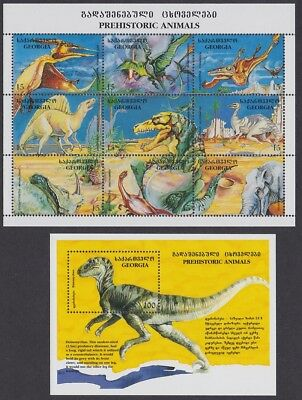 Georgia Dinosaurs Sheetlet of 9v+MS SG#120-147 SC#135-136