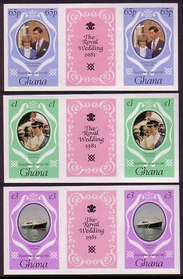 Ghana Royal Wedding 3v gutter pairs (2nd series) imperforate SG#952-954