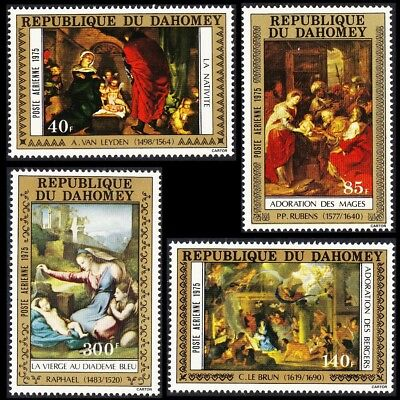 Dahomey Christmas Paintings 4v issue 1975 SG#599-602 MI#646-649