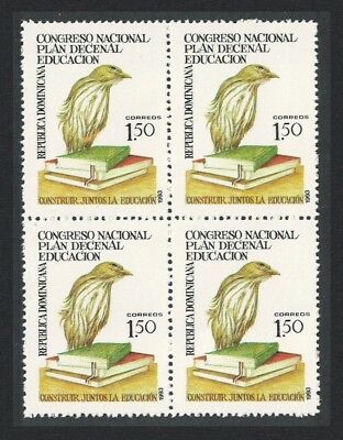Dominican Rep. Ten Year Education Plan 1v Block of 4 SG#1833