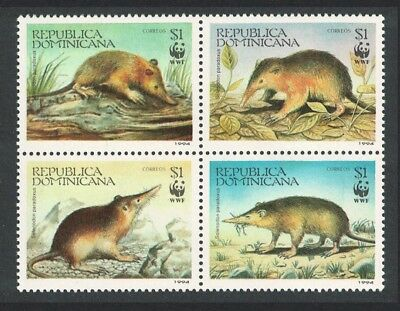 Dominican Rep. WWF Hispaniolan Solenodon 4v in block 2*2 SG#1853-1856 SC#1158