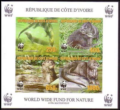 Ivory Coast WWF Speckle-throated Otter Souvenir Sheet imperforated with error