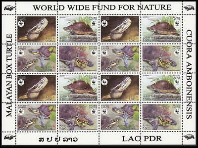 Laos WWF Malayan Box Turtle Sheetlet of 4 sets SC#1625 a-d MI#1927-1930