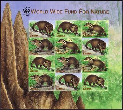 Liberia WWF Liberian Mongoose Imperforated Sheetlet of 3 sets / 12 stamps