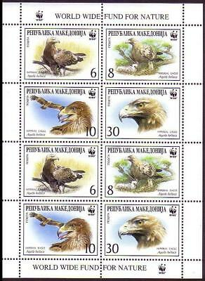 Macedonia Birds WWF Imperial Eagle Sheetlet of 2 sets / 8 stamps SG#319-322