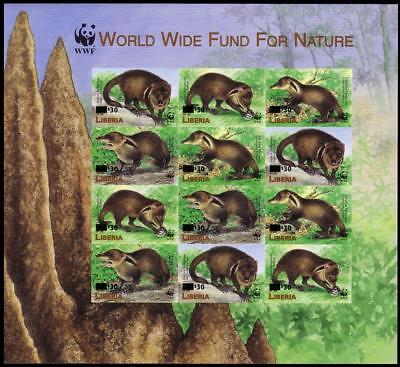 Liberia WWF Liberian Mongoose Imperforated Sheetlet of 3 sets / 12 stamps with