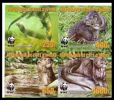 Ivory Coast WWF Speckle-throated Otter 4 imperforated stamps in block 2*2