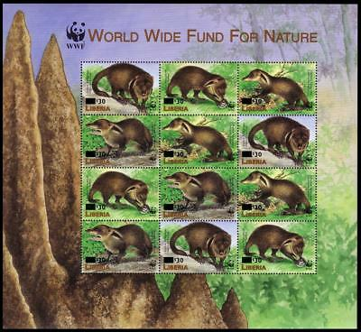 Liberia WWF Liberian Mongoose Sheetlet of 3 sets / 12 stamps with overprint