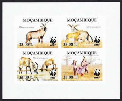 Mozambique WWF Roan Antelope Imperf Block of 4