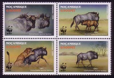 Mozambique WWF Blue Wildebeest 4v in block 2*2 SG#1542-1545 SC#1377 a-d