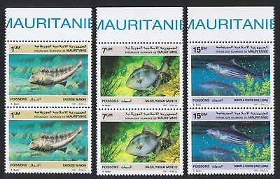 Mauritania Fish 3v in pairs with Top Margin SG#896-898 SC#631-633