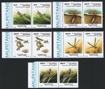 Mauritania Locusts 5v pairs with Left Margin SG#925-929 SC#648=658 CV£20+