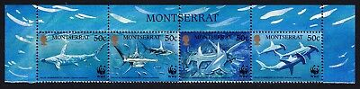 Montserrat WWF Great Hammerhead Shark Top Strip of 4v with country name