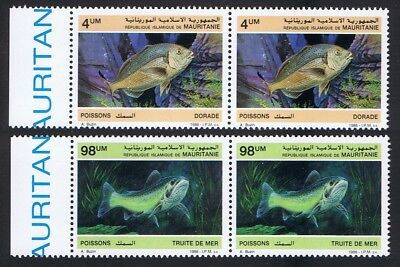 Mauritania Fish 2v issue 1986 in pairs with Left Margin SG#874+877 SC#614-615