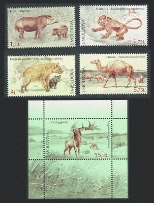 Moldova Tapir Monkey Hyena Camel Elk Extinct Fauna 4v+MS MI#980-983