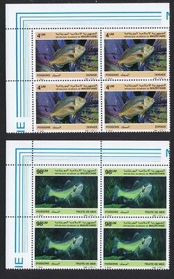 Mauritania Fish 2v issue 1986 Top Left Corner Blocks of 4 SG#874+877 SC#614-615