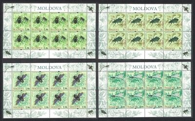 Moldova Bumble bee Beetle Dragonfly Insects 4v Full Sheets 8 sets SG#652-655
