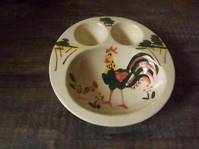 Vintage 1950's Egg and Bowl Childs Dish Rooster Motif