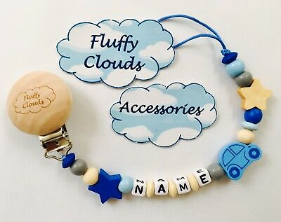 Cute baby Personalised wooden bead Pacifier Soother Dummy Clip Holder 1pc ~ Boys