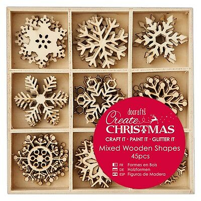 SNOWFLAKES - SMALL MIXED WOODEN SHAPES - Create Christmas Collection - Docrafts