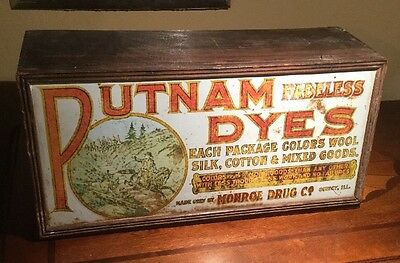 Antique Early Wood Putnam Fadeless Dyes Cabinet Older Graphics and Style