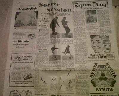 1953 Daily Express. Spurs' Alf Ramsey & Peter Baker Tips On Defending