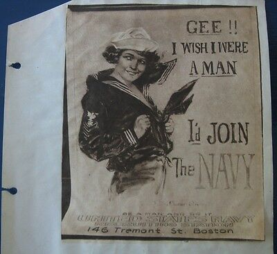 Authentic 1917 WWI GEE I WISH I WERE A MAN I'd Join the Navy from VMI cadet book