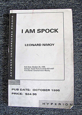 "1995 ""i Am Spock"" Leonard Nimoy Advance Uncorrected Proof Edition / Hyperion Pb"