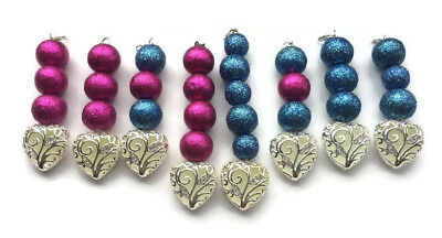 Glow In The Dark Charms Silver Heart Painted Glitter Beads Wholesale LOT of 8