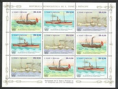 Sao Tome Ships Steamers Sheetlet of 9v SC#752