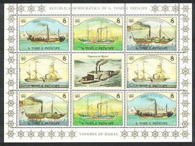 Sao Tome Ships Steamers Sheetlet of 8v SC#755