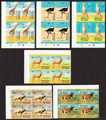 Niger Birds WWF Endangered animals 6v imperf Corner Blocks with Margins