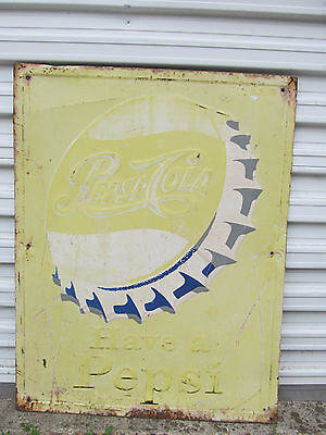 """Vintage Have a Pepsi Pepsi Cola Sign 34""""x27"""" AAW Sign Co. Embossed Cookie cutter"""