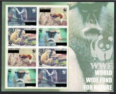 Sierra Leone WWF Patas Monkey Imperforated Sheetlet of 2 sets with OVERPRINT