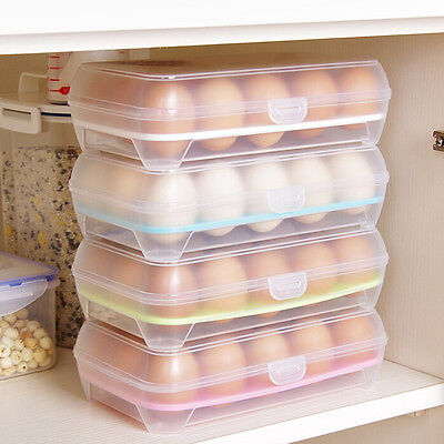 15 Eggs Holder Food Storage Container Plastic Refrigerator Egg Storage Box UK