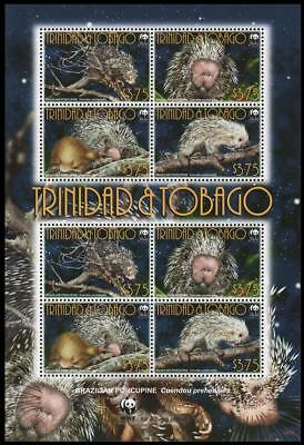 Trinidad and Tobago WWF Brazilian Porcupine Sheetlet of 2 sets / 8 stamps