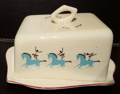 "Vintage BESWICK ""Circus"" BUTTER DISH With Plate. Kitchen Collectable"