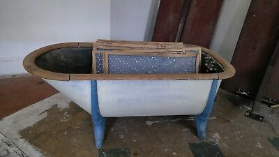 Antique Cast Iron Tub With Wooden Edge