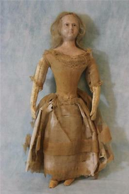 """12.5"""" Antique Papier Mache French Doll Black Pate Kid body 175 Yrs old 1840"""