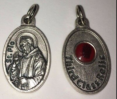 Pendant Medal Saint Father Padre Pio With Third Class Relic From Italy