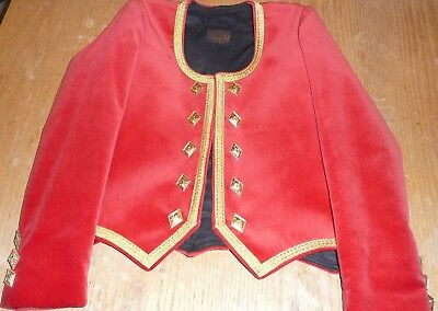 Highland Dancer's Jacket, Red Velvet & Gold Trim. By Tailor Frank