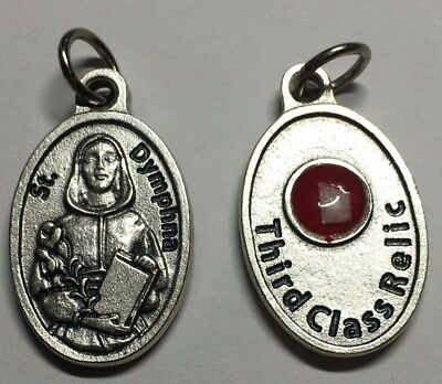 Pendant MedalSt Dymphna With Third Class Relic From Italy
