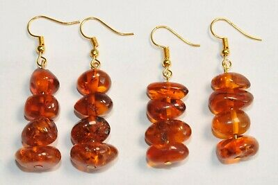 12-Pairs. Russian Earrings Baltic Amber Gold Natural Beads Gemstones 老琥珀 Jewelry